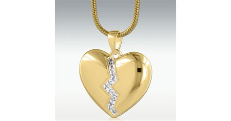 Broken Heart Solid 14k Gold Cremation Jewelry - Engravable