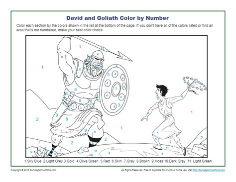 David and Goliath Color by Number - Children's Bible