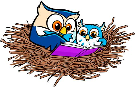 Library of owl reading a book jpg black and white png