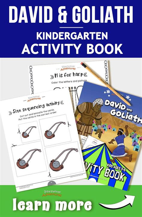 David and Goliath activity book for kindergarten and