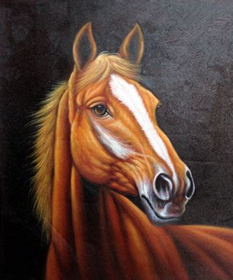 Hand Painted Horse Oil Painting : Chinese Calligraphy Art