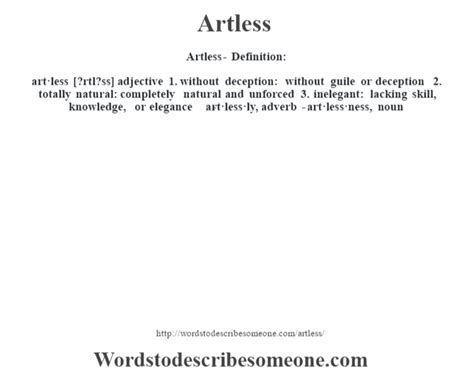 Artless definition | Artless meaning - words to describe