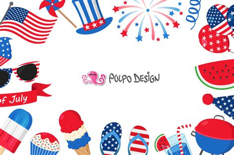 4th of July clip art By Polpo Design   TheHungryJPEG