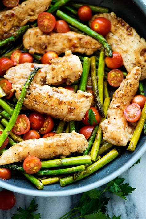 Balsamic Chicken with Asparagus and Tomatoes – Quick