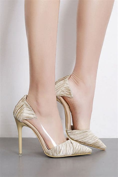 Gold Pointed Toe Clear Ruched Stiletto High Heel Pumps