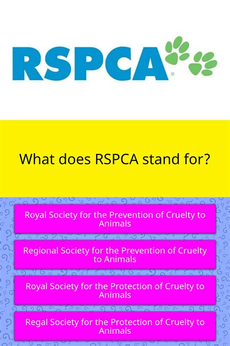 What does RSPCA stand for? | Trivia Questions | QuizzClub